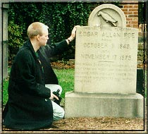 A marker at the original burial site of Edgar Allan Poe.